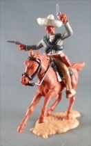 Timpo - Mexicains - Cavalier ceinture séparée bras gauche levé veste grise 2 révolvers pantalon crème sombrero blanc cheval marr