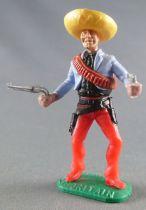 Timpo - Mexicains - Piéton 2 mains à hauteur de la taille veste bleue 2 révolvers sombrero jaune jambes rouges pied droit devant
