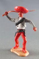 Timpo - Mexicains - Piéton bras droit levé veste grise (fouet) sombrero  jambes rouges pied droit devant