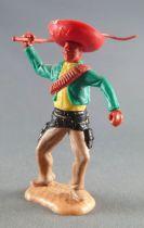 Timpo - Mexicains - Piéton bras droit levé veste verte (fouet) sombrero rouge jambes crèmes pied droit vers la droite