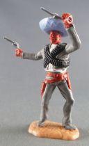 Timpo - Mexicains - Piéton bras gauche levé veste grise (2 révolvers) sombrero bleu jambes grises pied droit devant