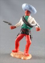 Timpo - Mexicans - Footed both hands at waist height white jacket (2 pistols) blue hat red legs with right foot pointing to the