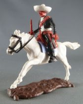 Timpo - Mexicans - Mounted (moulded belt) left arm down black jacket (winchester & pistol) black legs white hat white galloping
