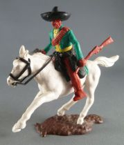 Timpo - Mexicans - Mounted (moulded belt) left arm down green jacket (winchester & pistol) brown legs black hat white galloping