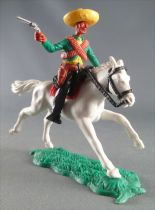 Timpo - Mexicans - Mounted (moulded belt) right arm pointing  green jacket (pistol) black legs yellow hat white galloping (long)