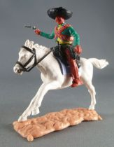 Timpo - Mexicans - Mounted (moulded belt) right arm pointing green jacket (pistol) brown legs black hat white galloping (long) h