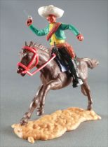Timpo - Mexicans - Mounted (moulded belt) right arm raised green jacket (pistol) black legs white hat dark brown galloping (long