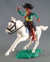 Timpo - Mexicans - Mounted (moulded belt) right arm raised green jacket (pistol) brown legs black hat white galloping (short) ho