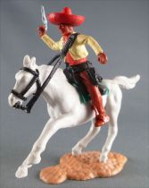 Timpo - Mexicans - Mounted (moulded belt) right arm up yellow jacket (pistol) brown legs red hat white galloping horseg