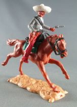 Timpo - Mexicans - Mounted (separate belt) both hands at waist height grey jacket (2 pistols) red legs white hat brown galloping