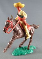 Timpo - Mexicans - Mounted (separate belt) holding knife yellow jacket yellow legs yellow hat dark brown galloping (short) horse