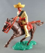 Timpo - Mexicans - Mounted (separate belt) left arm down yellow jacket (pistol & winchester) yellow legs yellow hat dark brown g