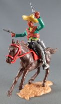 Timpo - Mexicans - Mounted (separate belt) left arm raised green jacket (2 pistols) grey legs yellow hat dark brown galloping (s