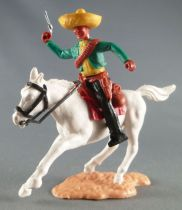 Timpo - Mexicans - Mounted (separate belt) right arm up green jacket pistols) black legs yellow hat white galloping (short) hors