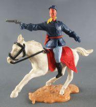 Timpo - Us cavalerie (Nordiste) 2ème série (tête 2 pièces) - Cavalier bras droit tendu (revolver) Cheval blanc galop court
