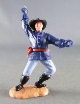 Timpo - Us cavalerie (Nordiste) 2ème série (tête 2 pièces) - Piéton officier bras droit levé (sabre) jambes penchées à gauche