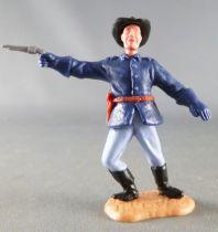 Timpo - Us cavalerie (Nordiste) 2ème série (tête 2 pièces) - Piéton officier bras droit tendu (révolver) jambes penchées à droit