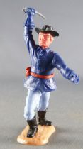 Timpo - Us cavalerie (Nordiste) 2ème série (tête monobloc) - Piéton officier bras droit levé (sabre) (roux) jambes avancantes