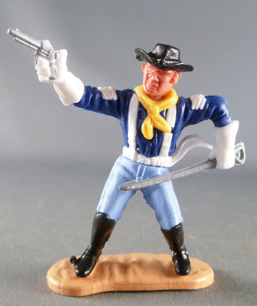 Timpo - Us cavalerie (Nordiste) 3ème série (gants blancs) - Piéton sergent révolver & sabre (bleu moyen) (chapeau noir - roux)