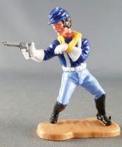 Timpo - Us cavalerie (Nordiste) 3ème série (gants blancs) - Piéton tireur révolver bras en écharpe (bleu moyen) (képi bleu cheve