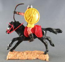 Timpo - Viking - Cavalier Archer (brun) jupe jaune bouclier jaune selle rouge cheval noir galop (long)