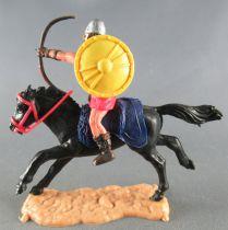 Timpo - Viking - Cavalier Archer (brun) jupe rouge bouclier jaune selle bleue cheval noir galop (long)