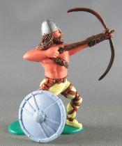 Timpo - Viking - Footed Archer (brown hairs) yellow advancing legs broken blue shield