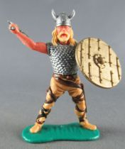 Timpo - Viking - Footed Scale mail shirt fighting (blond hairs) buff standing legs double axe gold shield