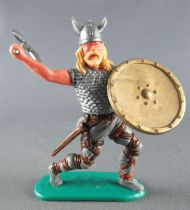 Timpo - Viking - Footed Scale mail shirt fighting (blond hairs) grey advancing legs double axe gold shield