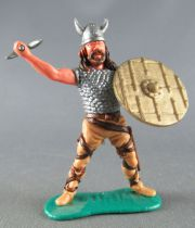 Timpo - Viking - Footed Scale mail shirt fighting (brown hairs) blue standing legs double axe gold shield