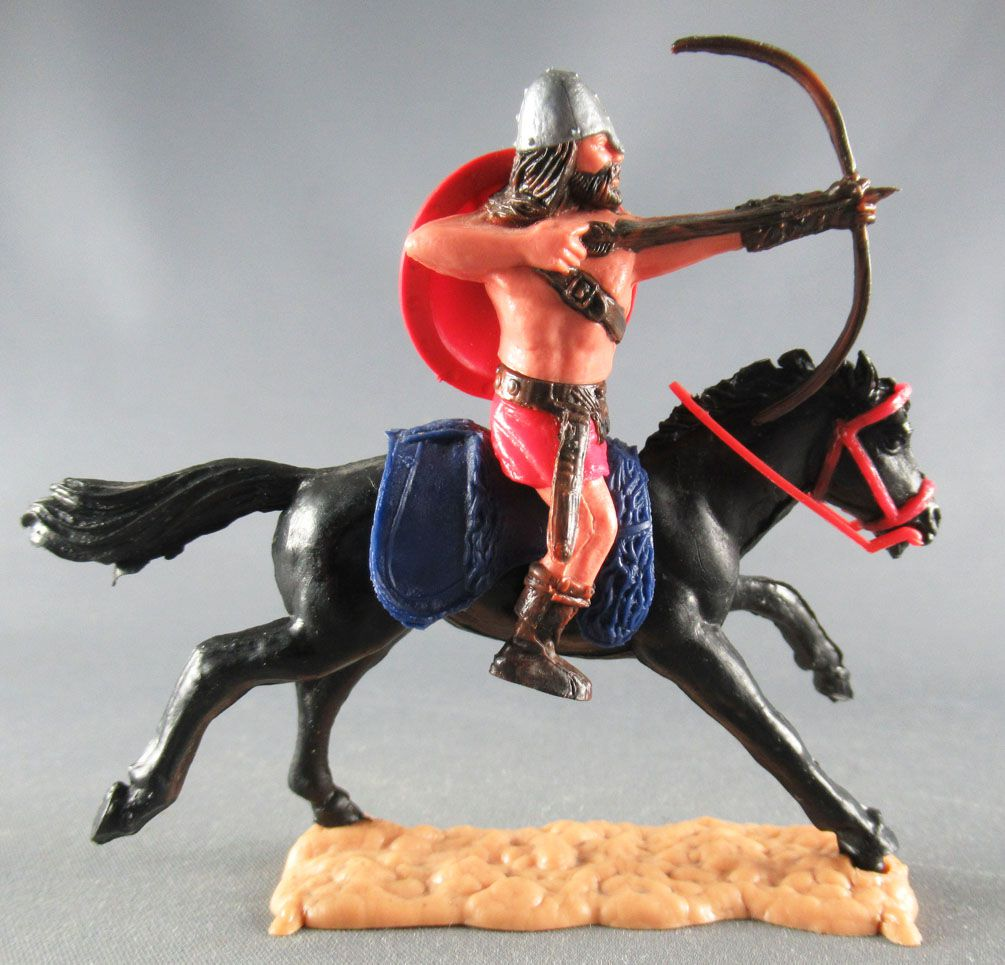 Timpo - Viking - Mounted Archer (brown hairs) red legs red shield blue saddle galloping (long) black horse