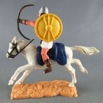 Timpo - Viking - Mounted Archer (brown hairs) white legs yellow shield blue saddle galloping (long) white horse