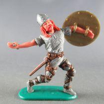 Timpo - Viking - Piéton Blessé par flèche (flèche cassée) (roux)  jambes avancant grises glaive bouclier doré