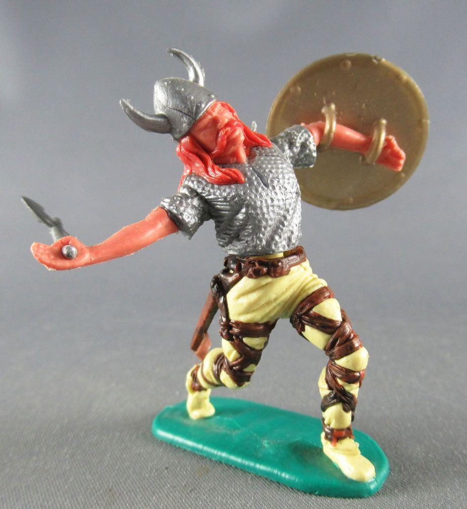 Timpo - Viking - Piéton Blessé par flèche (flèche cassée) (roux)  jambes avancant jaunes hache double bouclier doré