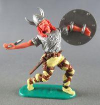 Timpo - Viking - Piéton Blessé par flèche (flèche cassée) (roux)  jambes avancant jaunes hache double bouclier gris