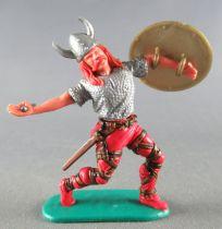 Timpo - Viking - Piéton Blessé par flèche (flèche cassée) (roux)  jambes avancant rouges glaive bouclier doré