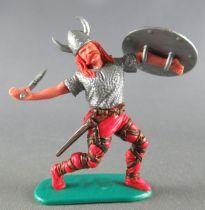 Timpo - Viking - Piéton Blessé par flèche (flèche cassée) (roux)  jambes avancant rouges hache double bouclier gris