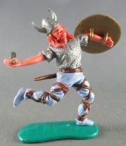 Timpo - Viking - Piéton Blessé par flèche (flèche cassée) (roux)  jambes courantes bleues glaive bouclier doré 2