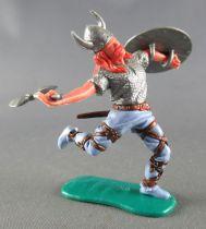 Timpo - Viking - Piéton Blessé par flèche (flèche cassée) (roux)  jambes courantes bleues hache double bouclier gris
