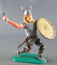 Timpo - Viking - Piéton Cote de maille combattant (jaune) jambes avançantes grises double hache bouclier doré