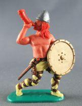 Timpo - Viking - Piéton Sonneur de cor (roux) jambes avancantes jaunes bouclier doré