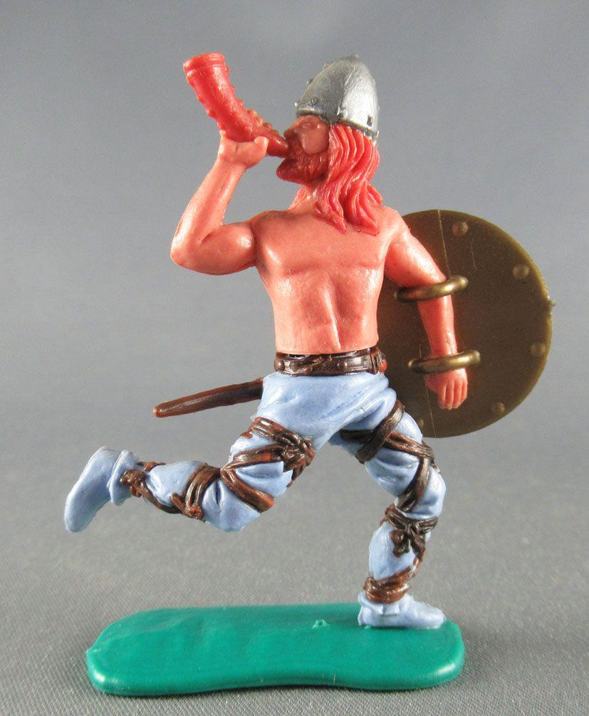 Timpo - Viking - Piéton Sonneur de cor (roux) jambes courantes bleues bouclier doré