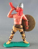 Timpo - Viking - Piéton Sonneur de cor (roux) jambes écartées crèmes bouclier doré (arrière)