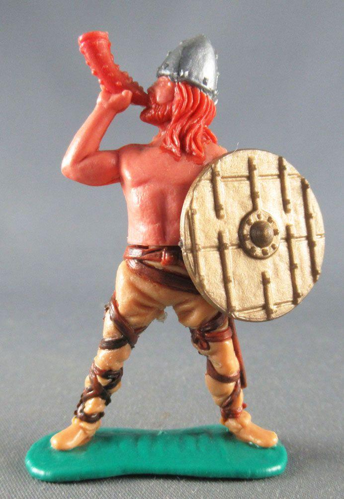 Timpo - Viking - Piéton Sonneur de cor (roux) jambes écartées crèmes bouclier doré à bande
