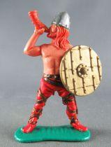 Timpo - Viking - Piéton Sonneur de cor (roux) jambes écartées rouges bouclier doré