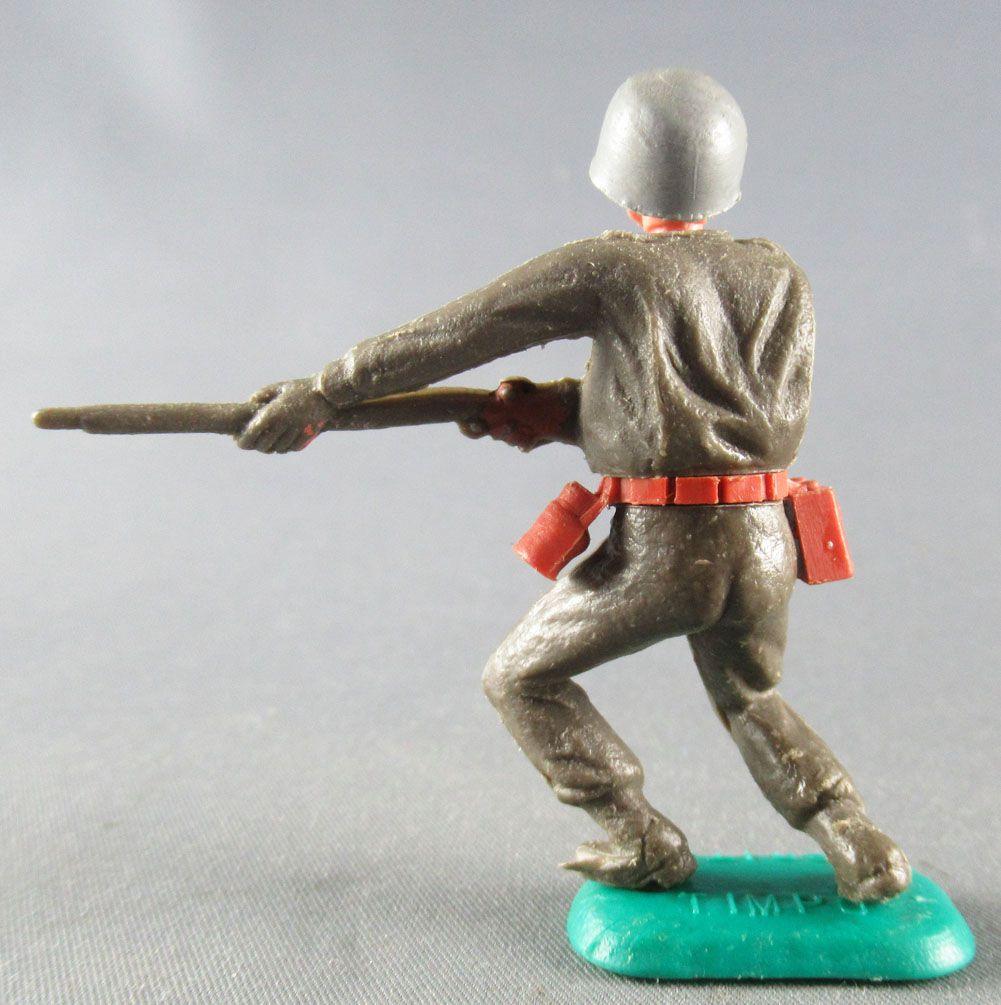 Timpo - WW2 - Américains - 1ère série - Tireur fusil poitrine les 2 jambes pliées vers la gauche