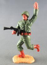 Timpo - WW2 - Américains - 2ème série - Bras levé (mitraillette) jambes courantes