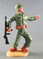 Timpo - WW2 - Américains - 2ème série - Pointant du doigt (mitraillette) jambes pliées vers la gauche