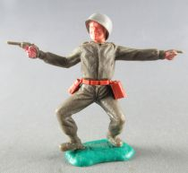Timpo - WW2 - Americans - 1st series - Pointing and pistol both bent apart legs