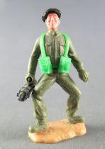 Timpo - WW2 - Anglais (Blindés Béret Noir) - 1ère série - Les 2 bras baissés (bren gun) jambes pliées écartées